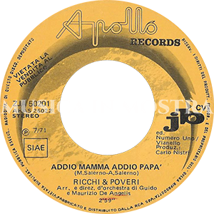 1971 – Apollo Records ZJA 50201