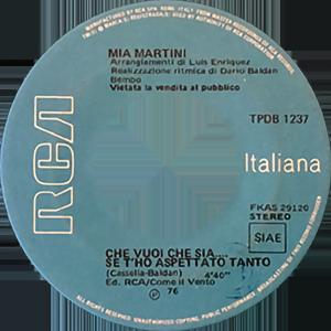 1976 – RCA Italiana TPDB 1237 (SSSS-NN) (Edizione speciale per discoteche)