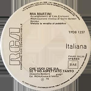 1976 – RCA Italiana TPDB 1237 (SSSS-NN) (Edizione speciale per discoteche – Campione non commerciabile)